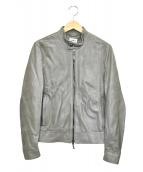 EMMETI(エンメティ)の古着「ラムスキンシングルライダースジャケット」|グレー