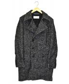 Saint Laurent Paris(サンローランパリ)の古着「ジャガードダブルブレステッドピーコート」|ブラック