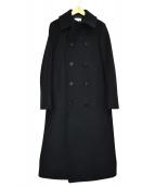 HYKE(ハイク)の古着「ウールメルトンPコート」 ブラック