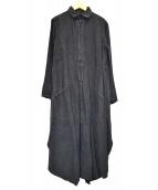 Y's(ワイズ)の古着「リネンプルオーバーシャツワンピース」|ブラック