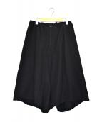 Y's(ワイズ)の古着「サマーウールワイドクロップドサルエルパンツ」|ブラック