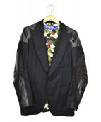 JUNYA WATANABE CDG(ジュンヤワタナベコムデギャルソン)の古着「レザー切替テーラードジャケット」|ブラック