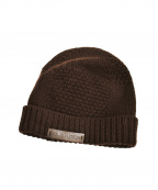 LOUIS VUITTON(ルイ ヴィトン)の古着「ロゴプレートニット帽」|ブラウン