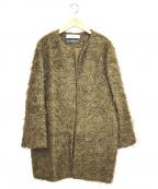 saqui(サキ)の古着「モヘヤノーカラーコート」 ブラウン