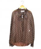 saqui(サキ)の古着「キャミソール付コットンシルクロングタイチェックブラウス」 ブラウン