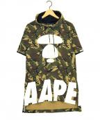 Aape BY A BATHING APE(エーエイプ バイ アベイシングエイプ)の古着「サルカモ半袖パーカー」|オリーブ
