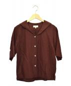 MARGARET HOWELL(マーガレットハウエル)の古着「リネン半袖シャツ」 ブラウン