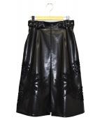 MURRAL(ミューラル)の古着「レースデザインレザースカート」|ブラック