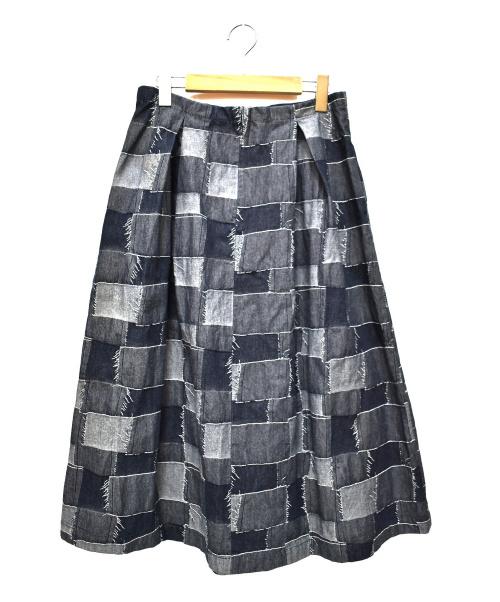 GRANDMA MAMA DAUGHTER(グランマママドーター)GRANDMA MAMA DAUGHTER (グランマママドーター) パッチワークデニムスカート インディゴ サイズ:2の古着・服飾アイテム