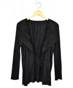 ()の古着「ノーカラープリーツジャケット」|ブラック