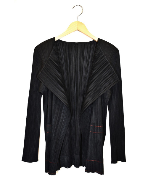 PLEATS PLEASE(プリーツプリーズ)PLEATS PLEASE (プリーツプリーズ) ノーカラープリーツジャケット ブラック サイズ:3 PP83-JO124の古着・服飾アイテム