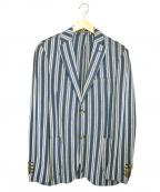 eleventy(イレブンティ)の古着「アンコンテーラードジャケット」 ホワイト×ブルー