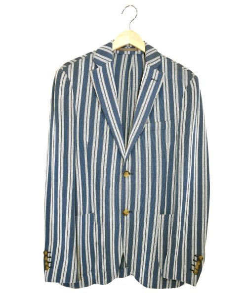 eleventy(イレブンティ)eleventy (イレブンティ) アンコンテーラードジャケット ホワイト×ブルー サイズ:46 71-207-04-023305の古着・服飾アイテム