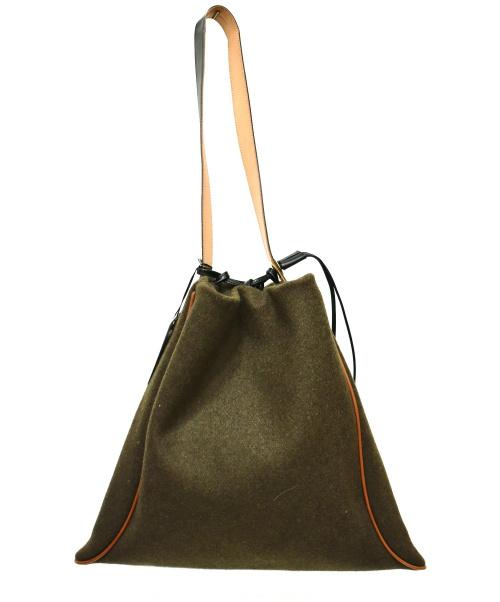 MARROW(マロウ)MARROW (マロウ) メルトンビッグピローバッグ グリーン サイズ:下記参照の古着・服飾アイテム
