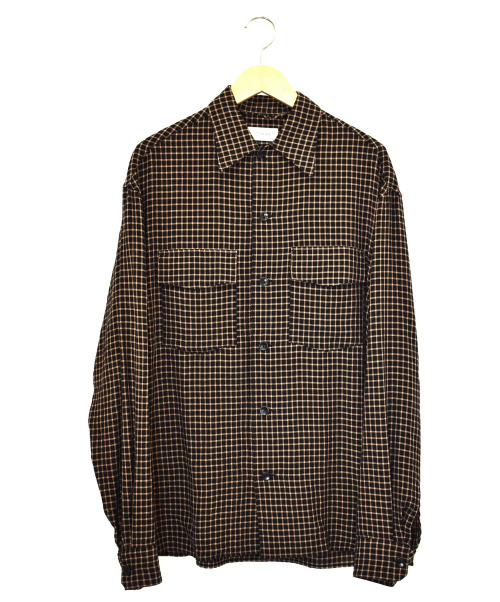 LEMAIRE(ルメール)LEMAIRE (ルメール) コンバーティブルカラーシャツ ブラック×ブラウン サイズ:46 M203 SH153 LF487 Convertibleの古着・服飾アイテム
