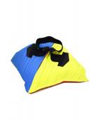 ()の古着「マルチカラーデザインプリーツバッグ」|スカイブルー×ピンク