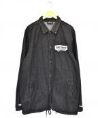 PLEASURES(プレジャーズ)の古着「パッチワ-クデニムコーチジャケット」 ブラック