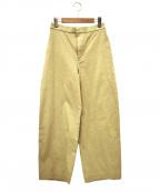 45R(フォーティファイブアール)の古着「コットンリネンストレッチのヘリンボンイージーワイドパンツ」|ベージュ