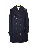 BURBERRY BRIT(バーバリーブリット)の古着「レザー切替エルボーパッチPコート」|ネイビー
