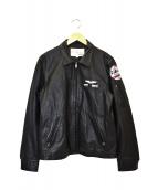 AVIREX(アヴィレックス)の古着「シングルレザージャケット」|ブラック