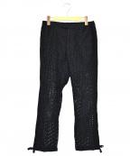 SueUNDERCOVER(スーアンダーカバー)の古着「レーヨン脇切替裾ムスビパンツ」|ブラック