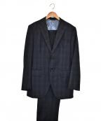 azabu tailor(アザブテーラー)の古着「2Bチェックセットアップスーツ」 ネイビー