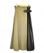 ADORE()の古着「ツィーディーフレアースカート」 ブラウン×ブラック