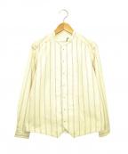 ASEEDONCLOUD(アシードンクラウド)の古着「ストライプバンドカラーシャツ」 ホワイト×レッド