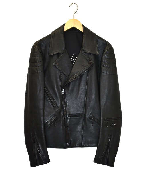 YohjiYamamoto pour homme(ヨウジヤマモトプールオム)YohjiYamamoto pour homme (ヨウジヤマモトプールオム) ラムスキンダブルライダースジャケット ブラック サイズ:2 HR-Y17-707の古着・服飾アイテム