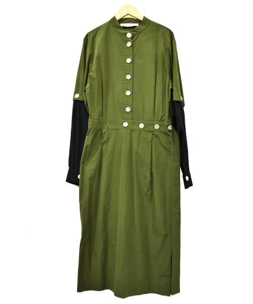 MARNI(マルニ)MARNI (マルニ) ブラウスワンピース グリーン×ブラック サイズ:40 2020年S/S ABMA0413Q0の古着・服飾アイテム