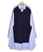 Maison Margiela 1(メゾンマルジェラ 1)の古着「Splicedシャツドレス」|ブルー×ネイビー