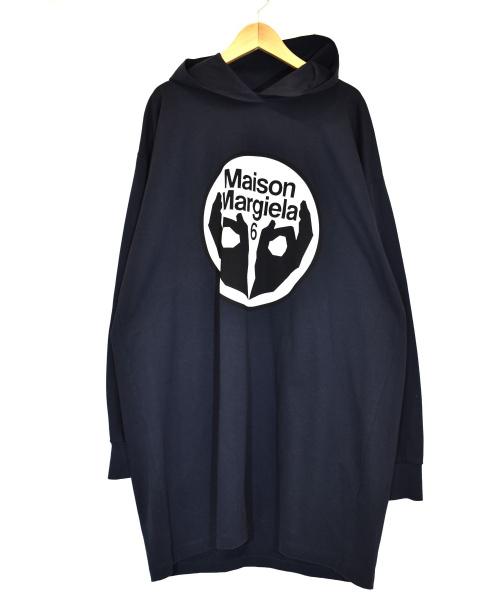 MM6 Maison Margiela(エムエムシックス メゾンマルジェラ)MM6 Maison Margiela (エムエムシックス メゾンマルジェラ) フーデッドスウェットシャツワンピース ネイビー サイズ:S S52CT0498の古着・服飾アイテム