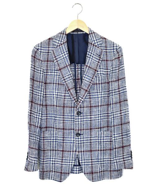 TAGLIATORE(タリアトーレ)TAGLIATORE (タリアトーレ) シルクブレンドツイードジャケット ブルー×ホワイト サイズ:46 1SVS22Kの古着・服飾アイテム