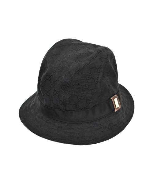 GUCCI(グッチ)GUCCI (グッチ) GGキャンバスハット ブラック サイズ:下記参照(XL)の古着・服飾アイテム