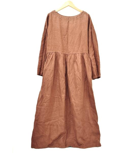nest Robe(ネストローブ)nest Robe (ネストローブ) リネンブラウスワンピース ブラウン サイズ:下記参照 01124-2106の古着・服飾アイテム