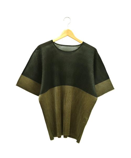 HOMME PLISSE ISSEY MIYAKE(オム プリッセ イッセイ ミヤケ)HOMME PLISSE ISSEY MIYAKE (オム プリッセ イッセイ ミヤケ) プリーツカットソー ベージュ サイズ:3 HP61JK162の古着・服飾アイテム