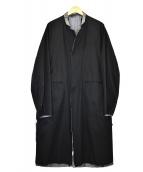 ()の古着「リバーシブルスペックリネンコート」|ブラック×グレー