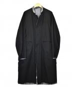 SUNSEA()の古着「リバーシブルスペックリネンコート」|ブラック×グレー