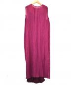 saqui(サキ)の古着「シルクコットン楊柳ベルトロングドレス」 パープル