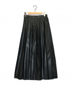 RAY BEAMS(レイ ビームス)の古着「フェイクレザープリーツスカート」|ブラック
