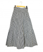 leur logette(ルルロジェッタ)の古着「ティアードストライプスカート」 ブラック×ホワイト