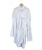 JUNYA WATANABE CdG(ジュンヤワタナベコムデギャルソン)の古着「変形ストライプシャツワンピース」 ネイビー