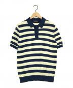 ROBERTO COLLINA(ロベルトコリーナ)の古着「パイル地ニットポロシャツ」|ネイビー×アイボリー