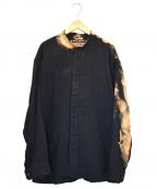 ISSEY MIYAKE WHITE LABEL(イッセイミヤケホワイトレーベル)の古着「ブリーチ加工バンドカラーシャツ」 ブラック