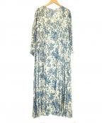 SOULEIADO(ソレイアード)の古着「コットンプリントラップフレアワンピース」|アイボリー×ブルー