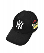 GUCCI × NEW ERA(グッチ×ニューエラ)の古着「バタフライ刺繍ベースボールキャップ」|ブラック