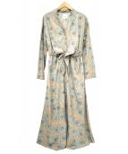 Ameri(アメリ)の古着「総柄ブラウスワンピース」|ベージュ×ネイビー