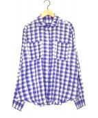 PLEATS PLEASE(プリーツプリーズ)の古着「ギンガムチェックシャツ」|ブルー×ホワイト