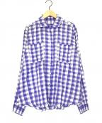 PLEATS PLEASE(プリーツプリーズ)の古着「ギンガムチェックシャツ」 ブルー×ホワイト