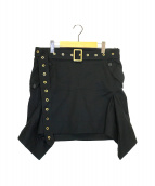 Salvatore Ferragamo(サルヴァトーレ フェラガモ)の古着「ベルト付スカート」 ブラック